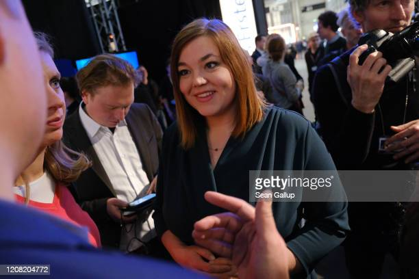 German Greens party incumbent candidate Katharina Fegebank chats with a reporter at television studios after initial exit polls gave the German...