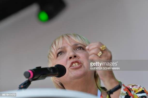 German Greens party member Claudia Roth speaks during a demonstration against the AfD at the start of a twoday party congress of Germany's farright...