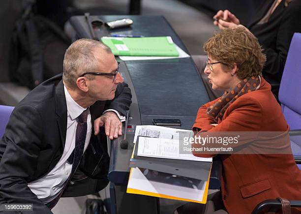 German Greens party politicians Volker Beck and Britta Hasselmann during a debate on the Annual Economic Report 2013 of the Federal Government at...