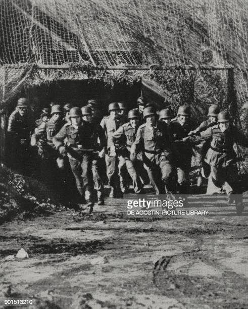 German grenadier division engaged in exercises along the Atlantic Wall World War II photograph by Weltbild from L'Illustrazione Italiana Year LXXI No...