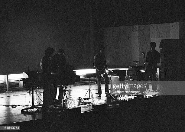 German group Kraftwerk perform live at the SF Festival in Rotterdam, Netherlands on March 21 1976. L-R Ralf Hutter, Karl Bartos, Wolfgang Flur and...