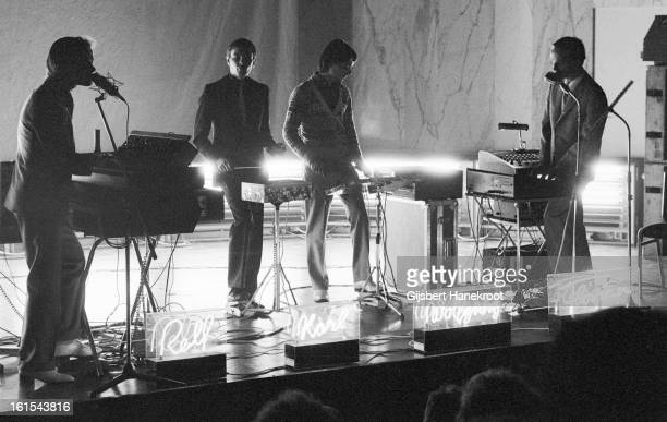German group Kraftwerk perform live at the SF Festival in Rotterdam Netherlands on March 21 1976 LR Ralf Hutter Karl Bartos Wolfgang Flur and Florian...