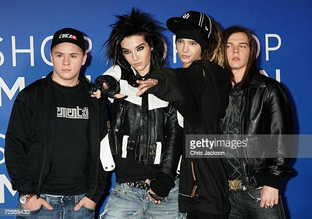 German group Tokio Hotel Georg Listing Bill KaulitzTom Kaulitz and Gustav Schaefer arrive at the 2006 World Music Awards at Earls Court on November...