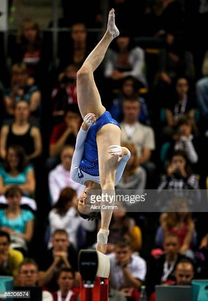 German gymnast Joeline Moebius performs on the balance beam at the German individual championship during the German Gymnastics Festival at the...