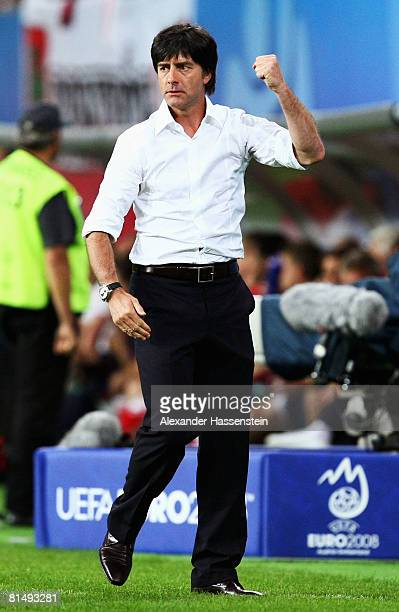 German Head coach Joachim Loew celebrates the opening goal during the UEFA EURO 2008 Group B match between Germany and Poland at Worthersee Stadion...