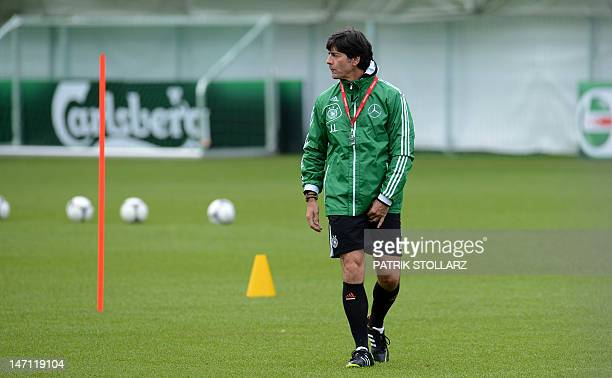 German headcoach Joachim Loew attends a training session near the Dwor Oliwski hotel in Gdansk on June 25 during the Euro 2012 football championships...