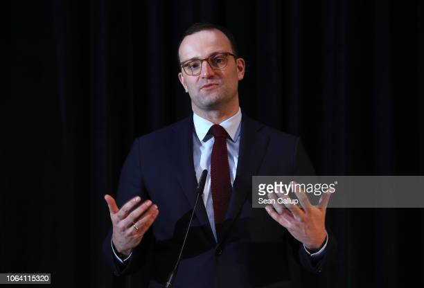 German Health Minister and leading member of the German Christian Democrats Jens Spahn speaks at a federal congress on school nutrition on November...