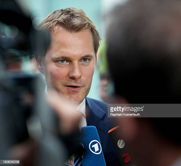 German Health Minister Daniel Bahr speaks at a press conference on organ transplant scandal on August 27 2012 The medical records of patients at...