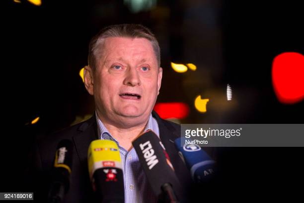 German Health Minister Hermann Groehe speaks to the media in Berlin Germany on February 25 2018 He will not be minister any more in aneventual future...