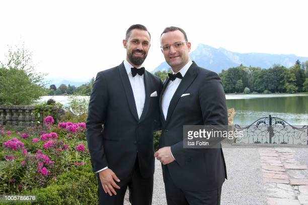 German Health Minister jens Spahn and his husband Daniel Funke during the ISA gala at Schloss Leopoldskron on July 26 2018 in Salzburg Austria