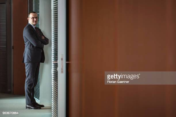 German Health Minister Jens Spahn arrives for the weekly cabinet meeting at the chancellery on May 02 2018 in Berlin Germany