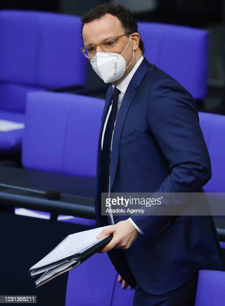 German Health Minister Jens Spahn arrives to answer the questions of deputies regarding measures taken against the coronavirus pandemic at Bundestag...