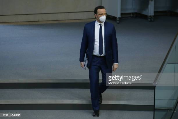 German Health Minister Jens Spahn arrives to speak ahead of a question and answer session at the Bundestag during the coronavirus pandemic on...
