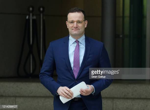 German Health Minister Jens Spahn arrives to speak to the media on March 23 2020 in Berlin Germany Spahn announced the federal government will...