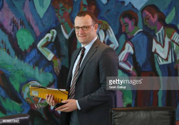 German Health Minister Jens Spahn attends the weekly government cabinet meeting on May 2 2018 in Berlin Germany High on the morning's agenda were...