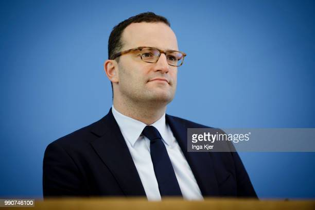 German Health Minister Jens Spahn captured at the federal press conference on July 03 2018 in Berlin Germany