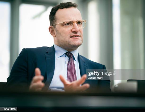 German Health Minister Jens Spahn is talking to journalists in his office on March 12 2019