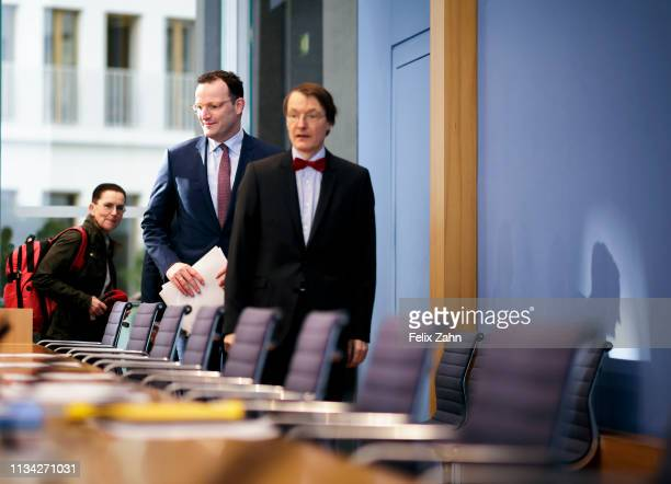 German Health Minister Jens Spahn; Karl Lauterbach, MdB, SPD and Petra Sitte, MdB Die Linke they are pictured during a press conference to present a...