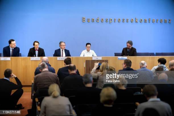 German Health Minister Jens Spahn; Karl Lauterbach, MdB, SPD; Georg Nuesslein, MdB CDU/CSU and Petra Sitte, MdB Die Linke they are pictured during a...
