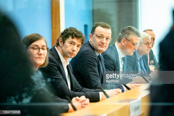 German Health Minister Jens Spahn President of Robert Koch Institute Lothar Wieler Virology Department Director of Charite Hospital Christian Drosten...