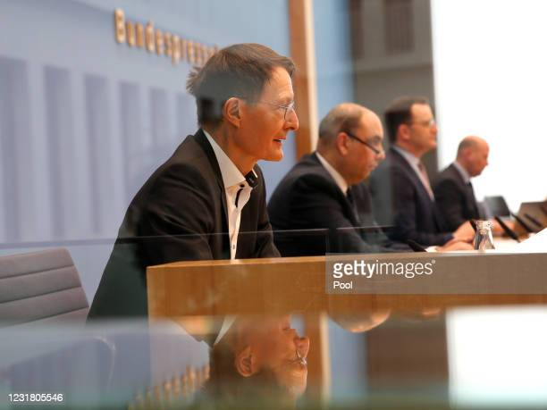 German Health Minister Jens Spahn, Robert Institute Vice President Lars Schaade and Karl Lauterbach, health policy expert of the German Social...
