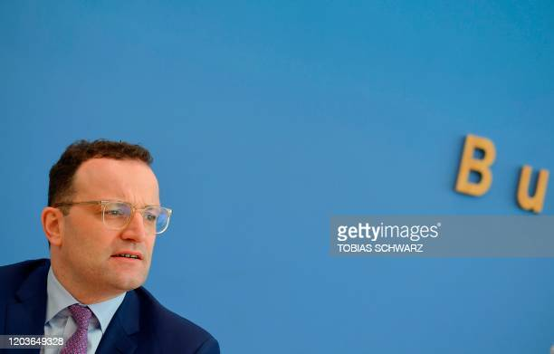 German Health Minister Jens Spahn speaks during a press conference with the German Interior on February 27 2020 in Berlin about the creation by their...