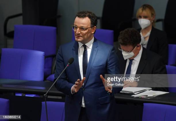 German Health Minister Jens Spahn speaks during a question and answer session at the Bundestag during the coronavirus pandemic on February 24, 2021...