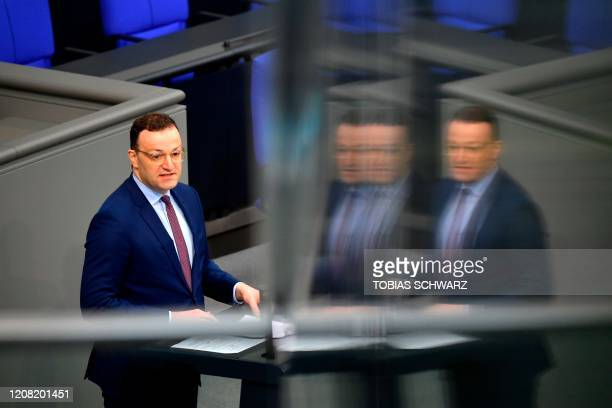 German Health Minister Jens Spahn speaks during a session at the Bundestag Germany's lower house of parliament in Berlin on March 25 2020 Only every...