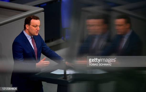 German Health Minister Jens Spahn speaks during a session of the Bundestag on May 7 2020 in Berlin