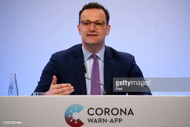 German Health Minister Jens Spahn speaks during the launch of Germany's governmentdeveloped CoronaWarnApp tracing app for Covid19 infections during...