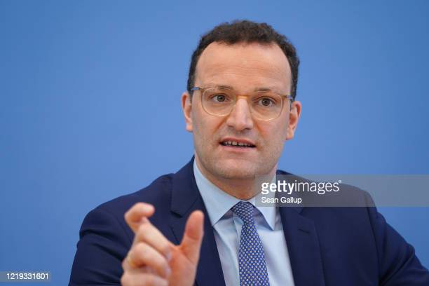 German Health Minister Jens Spahn speaks to the media during the coronavirus crisis on April 17 2020 in Berlin Germany Germany's rate of...