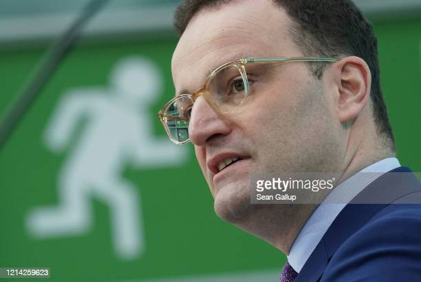 German Health Minister Jens Spahn speaks to the media on March 23 2020 in Berlin Germany Spahn announced the federal government will provide...