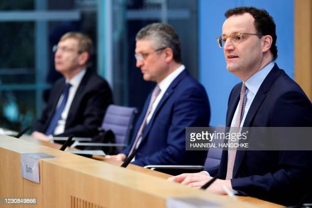 German Health Minister Jens Spahn together with Lothar Wieler, head of Germany's Robert Koch Institute for disease control, and Paul Ehrlich...