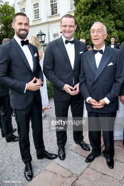 German Health Minister jens Spahn with his husband Daniel Funke and Marcelo Rebelo de Sousa president of Portugal during the ISA gala at Schloss...