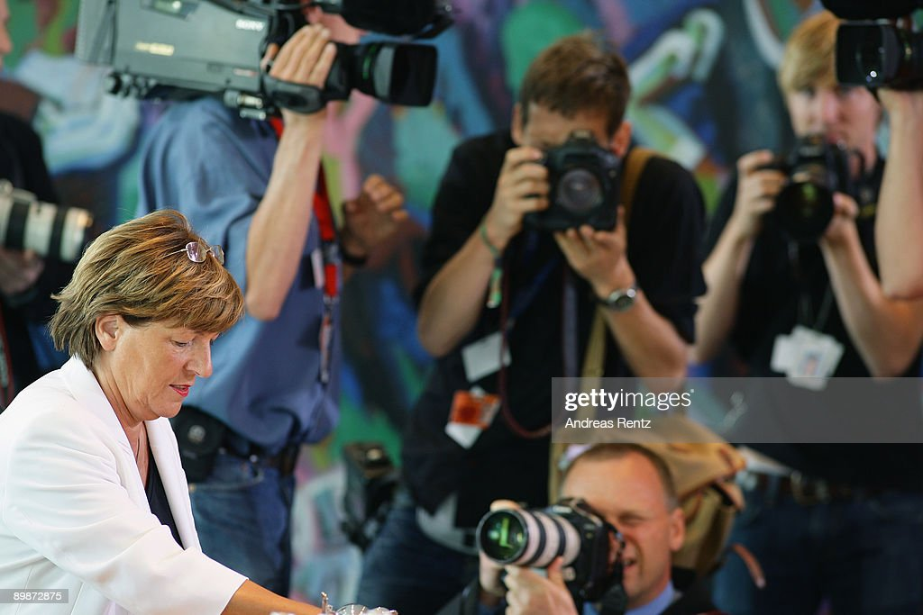 German Health Minister Ulla Schmidt looks on prior to the weekly German government cabinet meeting at the Chancellery on August 19, 2009 in Berlin, Germany. High on the morning's agenda was the obligation of the statutory health insurance of the new vaccinations against influenza A(H1N1), so called swine flu.
