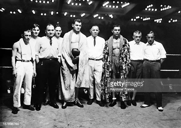 German heavyweight boxers Franz Diener and Max Schmeling before a fight in 1927 in Berlin Germany