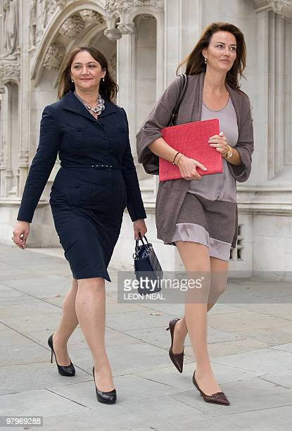German heiress Katrin Radmacher leaves the Supreme Court in central London on March 23 2010 A battle by one of Europe's richest women to have...