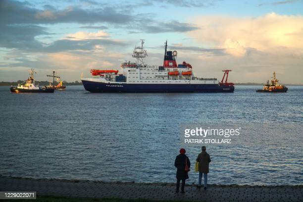 """German icebreaker and research vessel """"Polarstern"""" arrives at the harbour of nothern German town of Bremerhaven, on October 12 after a year-long..."""