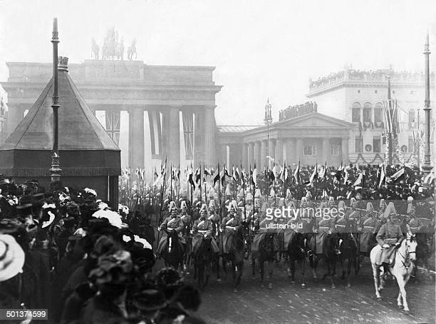 cavalry regiment at Brandenburg Gate in Berlin probably visit of Edward VII King of England in Berlin
