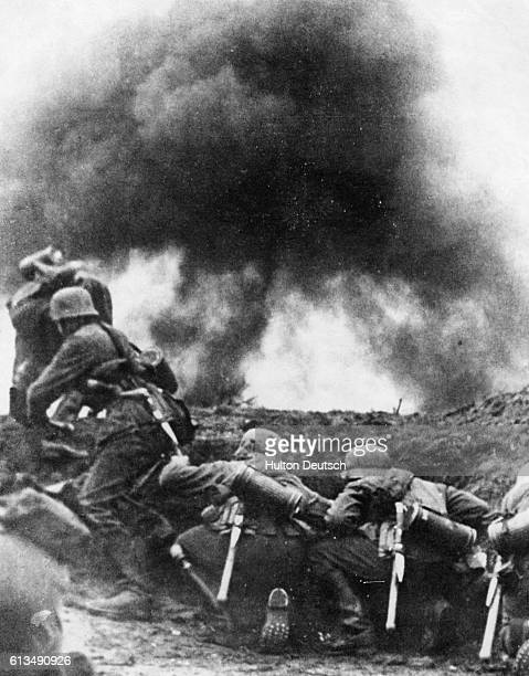 German Infantry Advance German Infantry ready for the advance to attack a fortified bunker over a mount in Belgium