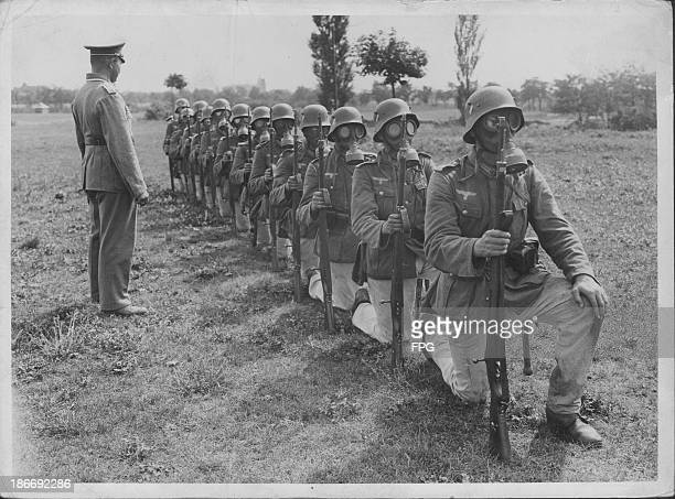 German infantry gas mask training during World War Two Germany circa 19391945