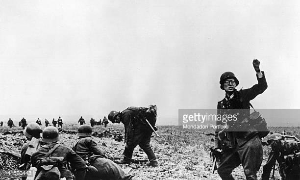 German infantrymen advancing in the Kharkiv area Ukraine May 1942
