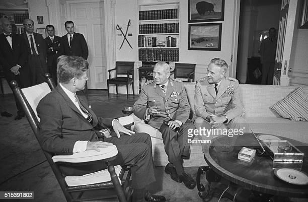 German Inspector General Meets With JFK. Washington, D.C.: Gen. Friedrich Foertsch, Inspector General of the West German Armed Forces meets with...