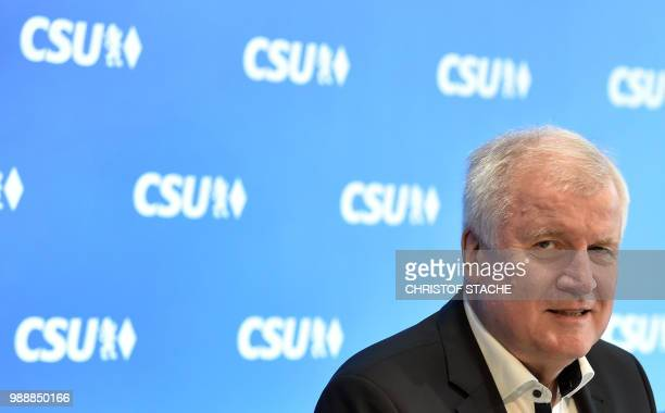 German Interior Minister and Bavarian Christian Social Union politician Horst Seehofer looks on at the beginning of a party leadership meeting of the...