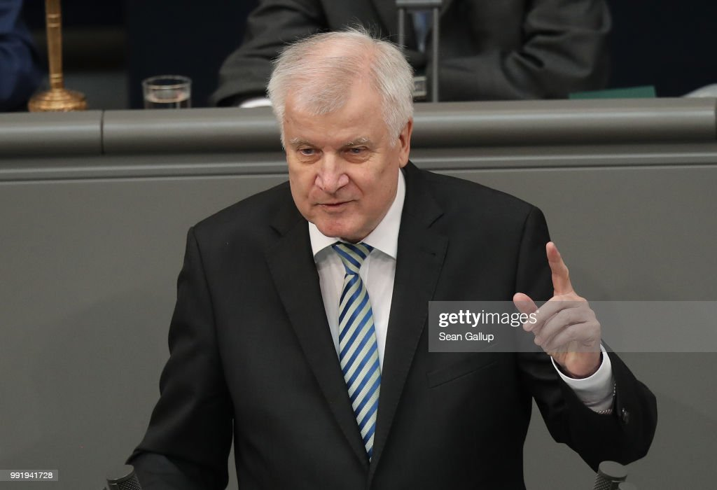 German Interior Minister and leader of the Bavarian Social Union (CSU), Horst Seehofer, speaks at the last session of the Bundestag before the sumer break on July 5, 2018 in Berlin, Germany. Seehofer and German Chancellor and leader of the German Christian Democratic Union (CDU) Angela Merkel recently reached a hard-wrung compromise over migration policy, though uncertainty remains over how the compromise will be implemented.