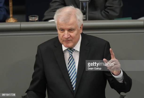 German Interior Minister and leader of the Bavarian Social Union , Horst Seehofer, speaks at the last session of the Bundestag before the sumer break...