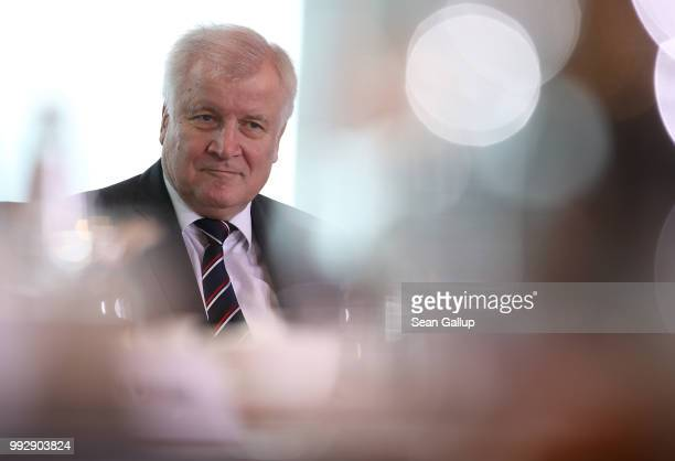 German Interior Minister and leader of the Bavarian Social Union Horst Seehofer attends the weekly German government cabinet meeting on July 6, 2018...