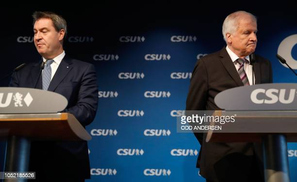 German Interior Minister and leader of the conservative Christian Social Union party Horst Seehofer and Bavaria's State Premier and CSU top candidate...