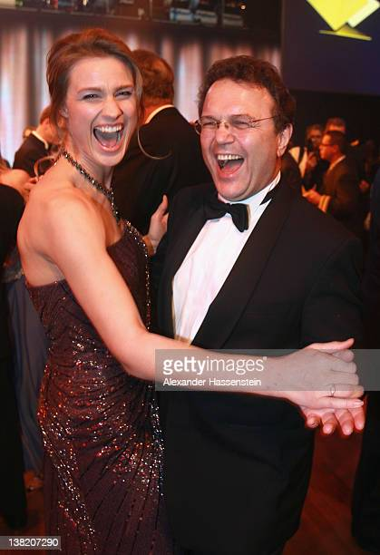 German Interior Minister HansPeter Friedrich dances with Britta Heidemann during the 2012 Sports Gala 'Ball des Sports' at the RheinMain Hall on...