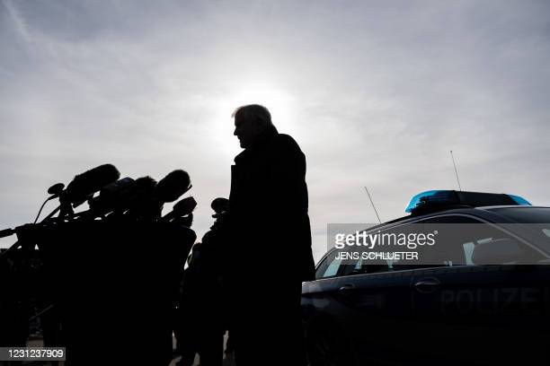 German Interior Minister Horst Seehofer addresses media during his visit of Germany's Federal Police that carries out controls at the German-Czech...